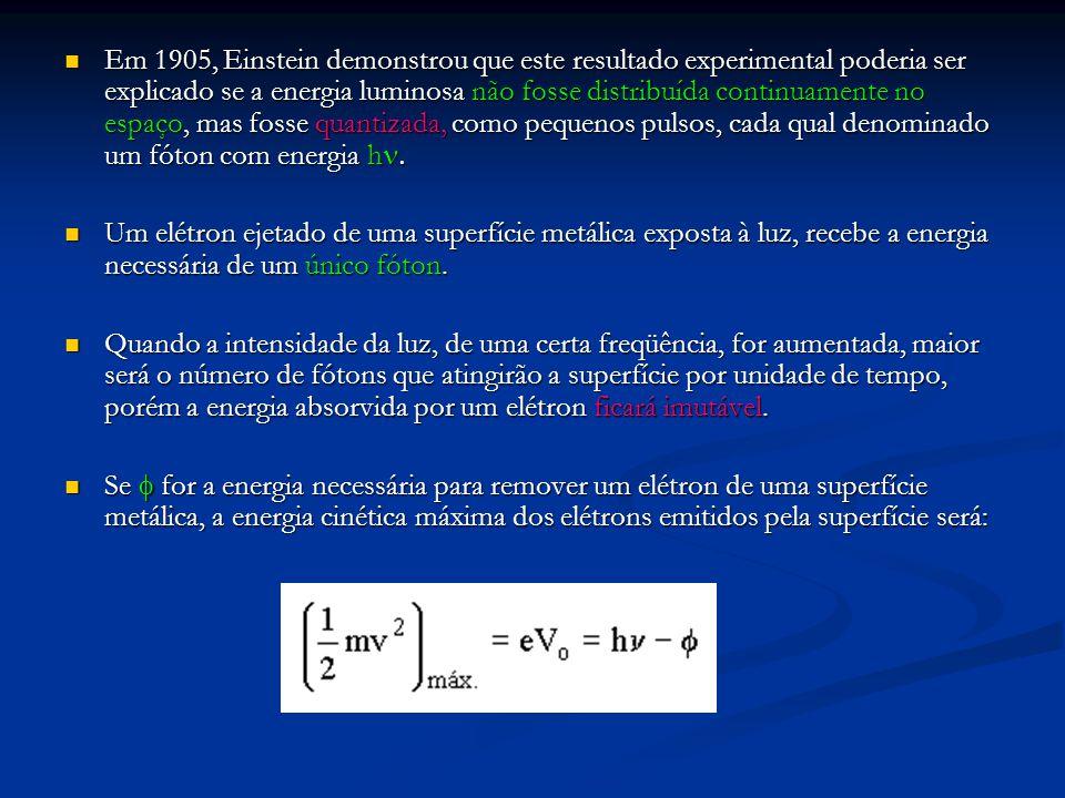 Em 1905, Einstein demonstrou que este resultado experimental poderia ser explicado se a energia luminosa não fosse distribuída continuamente no espaço