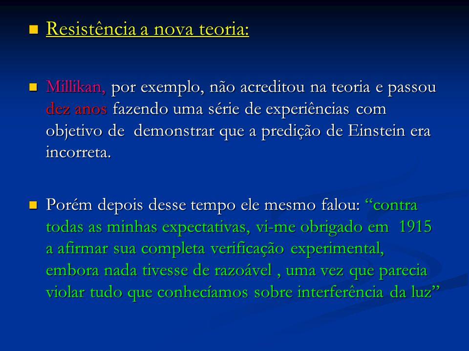 Resistência a nova teoria: Resistência a nova teoria: Millikan, por exemplo, não acreditou na teoria e passou dez anos fazendo uma série de experiênci
