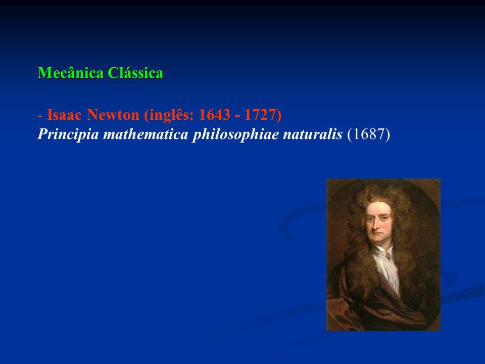 Mecânica Clássica - Isaac Newton (inglês: 1643 - 1727) Principia mathematica philosophiae naturalis (1687)