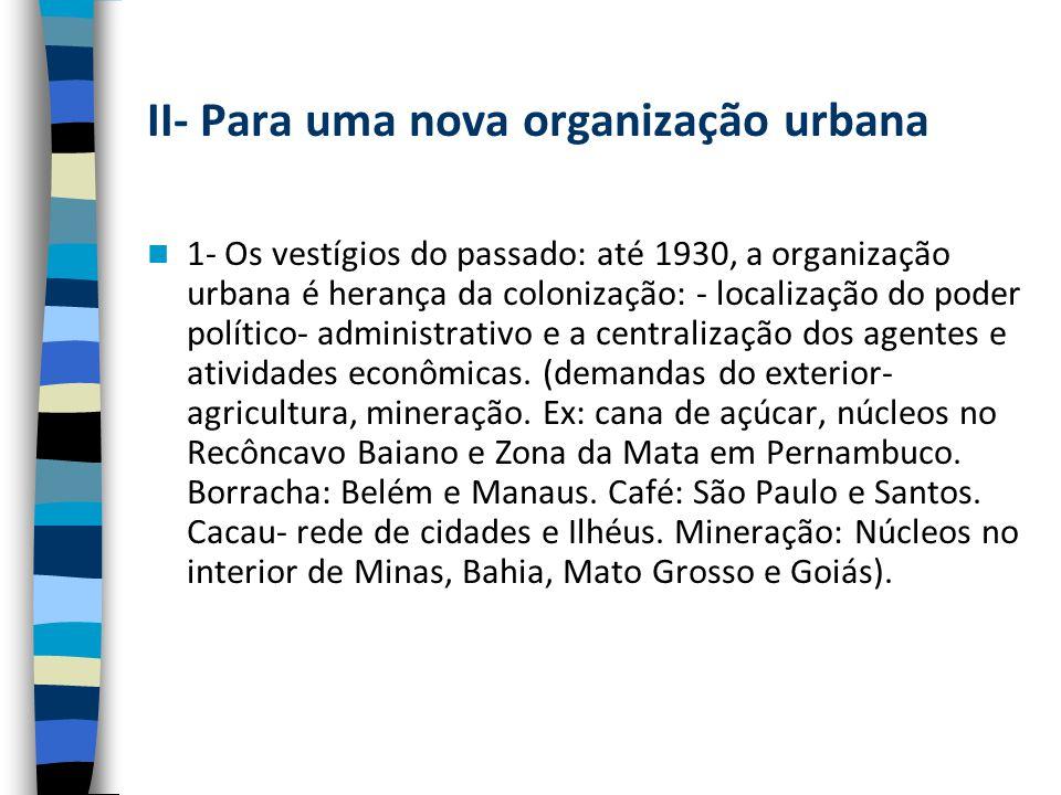 II- Para uma nova organização urbana 1- Os vestígios do passado: até 1930, a organização urbana é herança da colonização: - localização do poder político- administrativo e a centralização dos agentes e atividades econômicas.