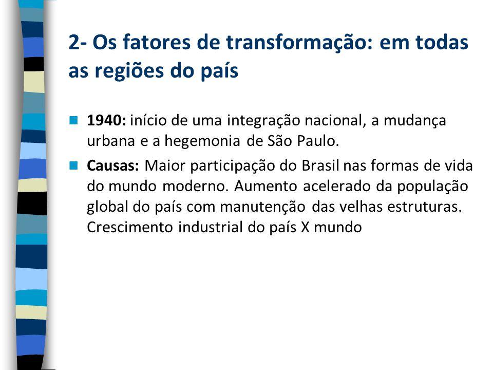 2- Os fatores de transformação: em todas as regiões do país 1940: início de uma integração nacional, a mudança urbana e a hegemonia de São Paulo.