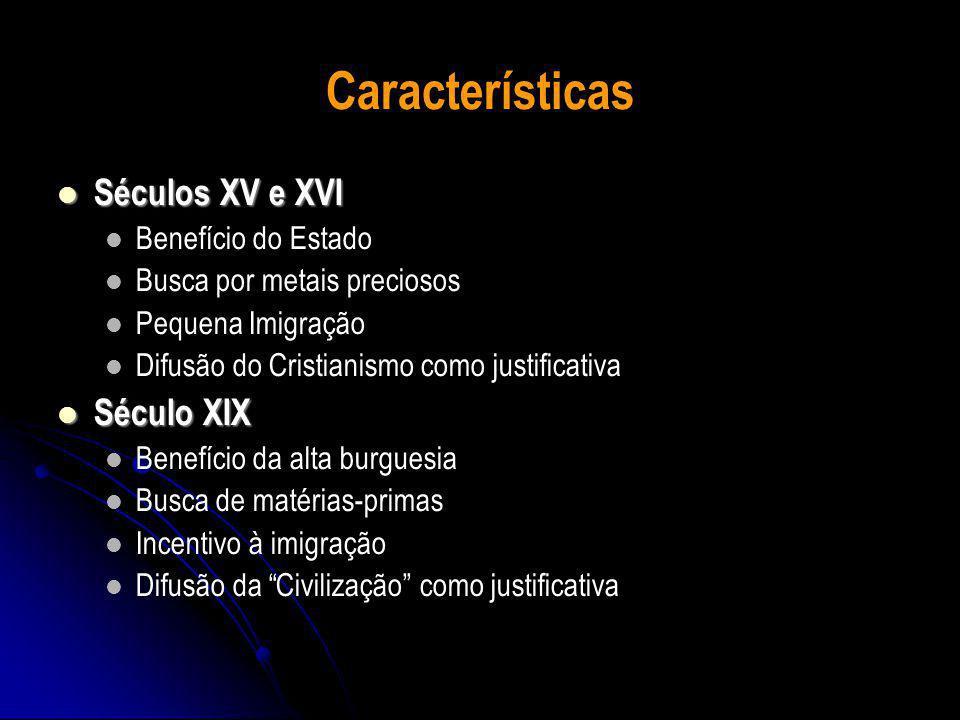 Características Séculos XV e XVI Séculos XV e XVI Benefício do Estado Busca por metais preciosos Pequena Imigração Difusão do Cristianismo como justificativa Século XIX Século XIX Benefício da alta burguesia Busca de matérias-primas Incentivo à imigração Difusão da Civilização como justificativa