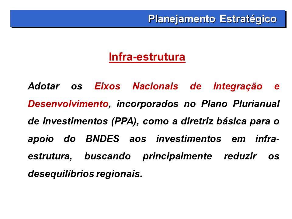 Planejamento Estratégico Infra-estrutura Adotar os Eixos Nacionais de Integração e Desenvolvimento, incorporados no Plano Plurianual de Investimentos (PPA), como a diretriz básica para o apoio do BNDES aos investimentos em infra- estrutura, buscando principalmente reduzir os desequilíbrios regionais.