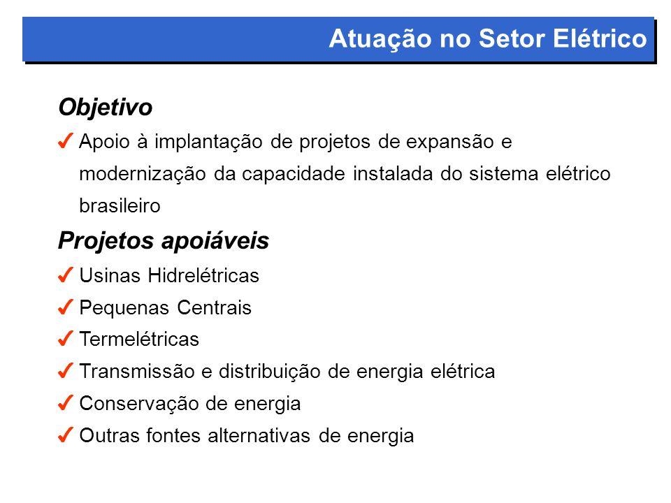Objetivo 4Apoio à implantação de projetos de expansão e modernização da capacidade instalada do sistema elétrico brasileiro Projetos apoiáveis 4Usinas Hidrelétricas 4Pequenas Centrais 4Termelétricas 4Transmissão e distribuição de energia elétrica 4Conservação de energia 4Outras fontes alternativas de energia Atuação no Setor Elétrico