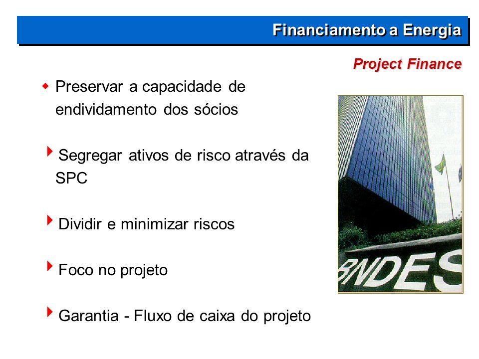 Project Finance Financiamento a Energia  Preservar a capacidade de endividamento dos sócios  Segregar ativos de risco através da SPC  Dividir e minimizar riscos  Foco no projeto  Garantia - Fluxo de caixa do projeto