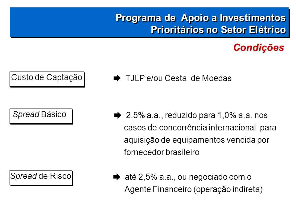  TJLP e/ou Cesta de Moedas  2,5% a.a., reduzido para 1,0% a.a.