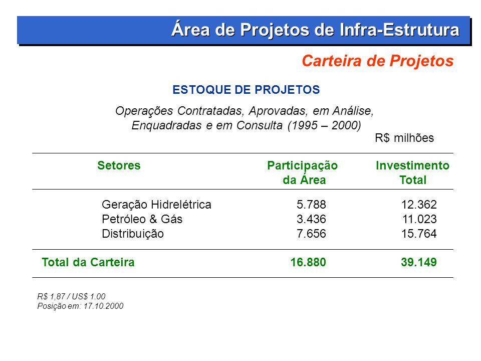 Carteira de Projetos SetoresParticipação Investimento da ÁreaTotal R$ 1,87 / US$ 1.00 Posição em: 17.10.2000 R$ milhões Geração Hidrelétrica 5.78812.362 Petróleo & Gás 3.43611.023 Distribuição7.65615.764 Total da Carteira16.88039.149 Área de Projetos de Infra-Estrutura ESTOQUE DE PROJETOS Operações Contratadas, Aprovadas, em Análise, Enquadradas e em Consulta (1995 – 2000)