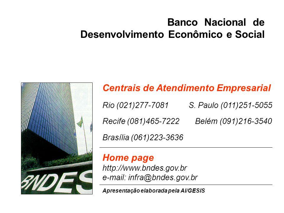 Home page http://www.bndes.gov.br e-mail: infra@bndes.gov.br Centrais de Atendimento Empresarial Rio (021)277-7081 S. Paulo (011)251-5055 Recife (081)