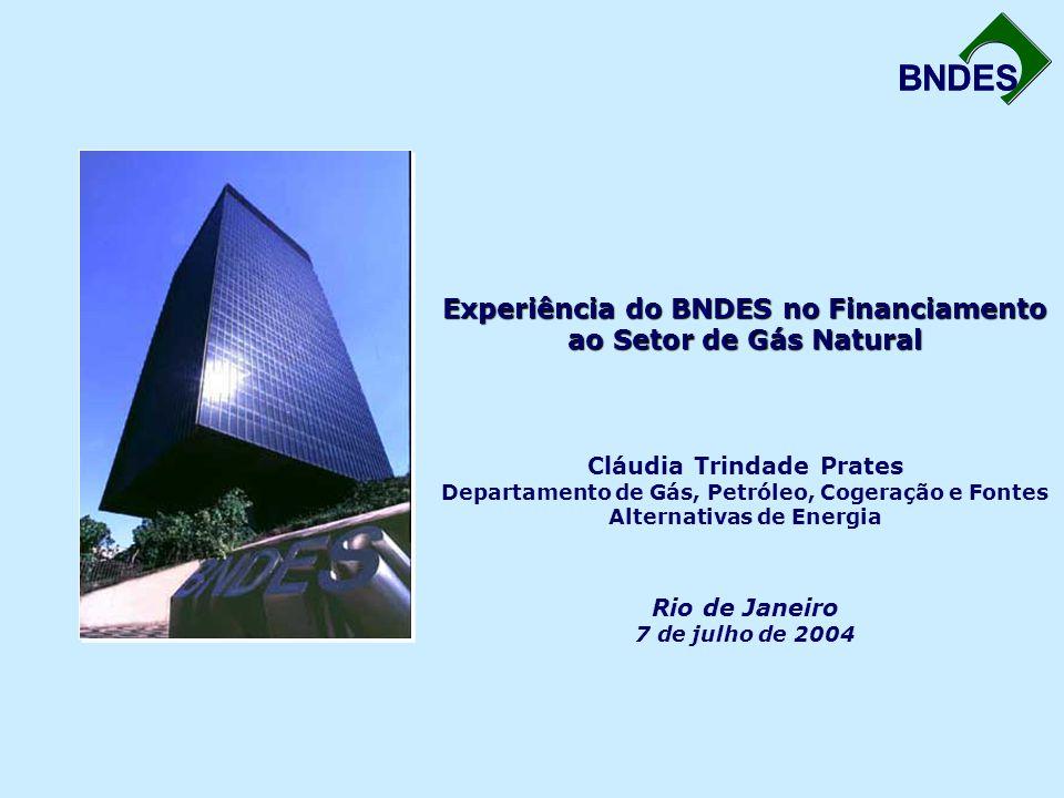 BNDES Experiência do BNDES no Financiamento ao Setor de Gás Natural Experiência do BNDES no Financiamento ao Setor de Gás Natural Cláudia Trindade Prates Departamento de Gás, Petróleo, Cogeração e Fontes Alternativas de Energia Rio de Janeiro 7 de julho de 2004 BNDES