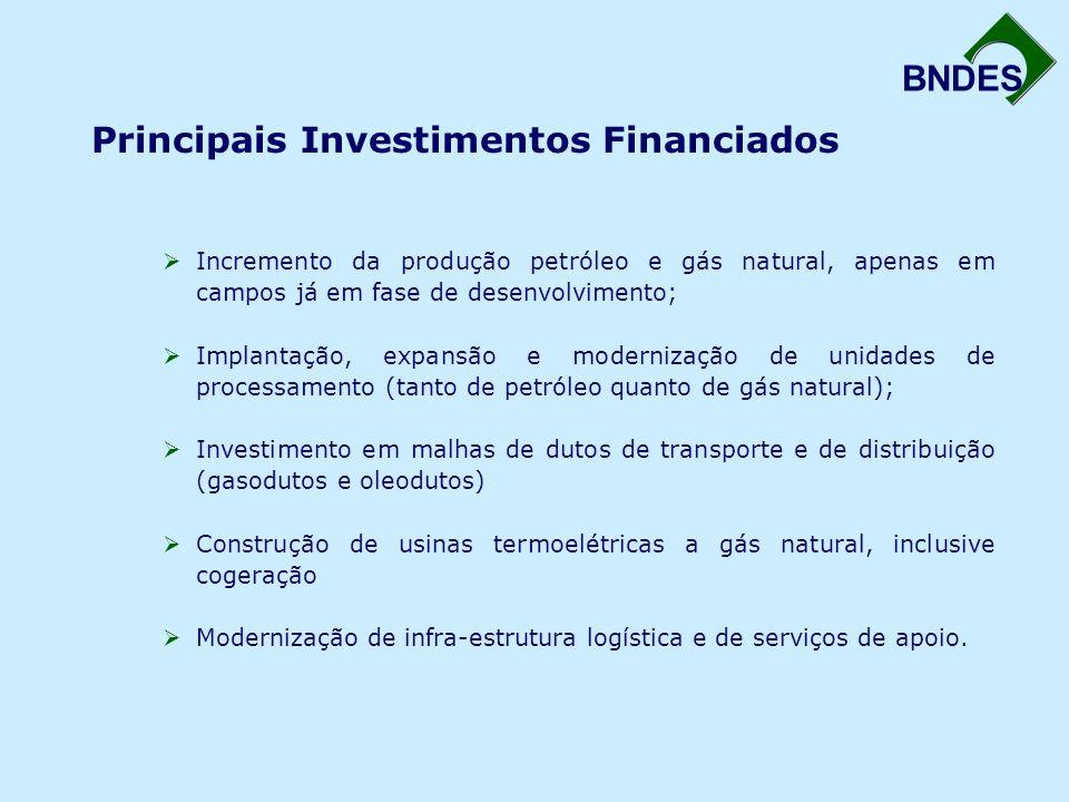 BNDES Principais Investimentos Financiados  Incremento da produção petróleo e gás natural, apenas em campos já em fase de desenvolvimento;  Implanta