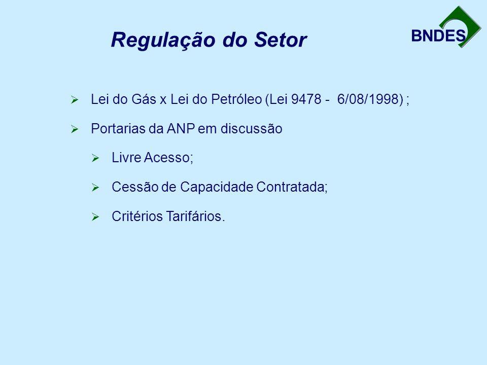 BNDES Regulação do Setor  Lei do Gás x Lei do Petróleo (Lei 9478 - 6/08/1998) ;  Portarias da ANP em discussão  Livre Acesso;  Cessão de Capacidade Contratada;  Critérios Tarifários.