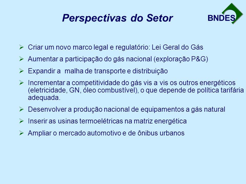 BNDES Perspectivas do Setor  Criar um novo marco legal e regulatório: Lei Geral do Gás  Aumentar a participação do gás nacional (exploração P&G)  E