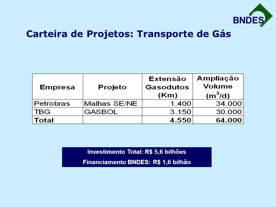 BNDES Carteira de Projetos: Transporte de Gás Investimento Total: R$ 5,6 bilhões Financiamento BNDES: R$ 1,6 bilhão
