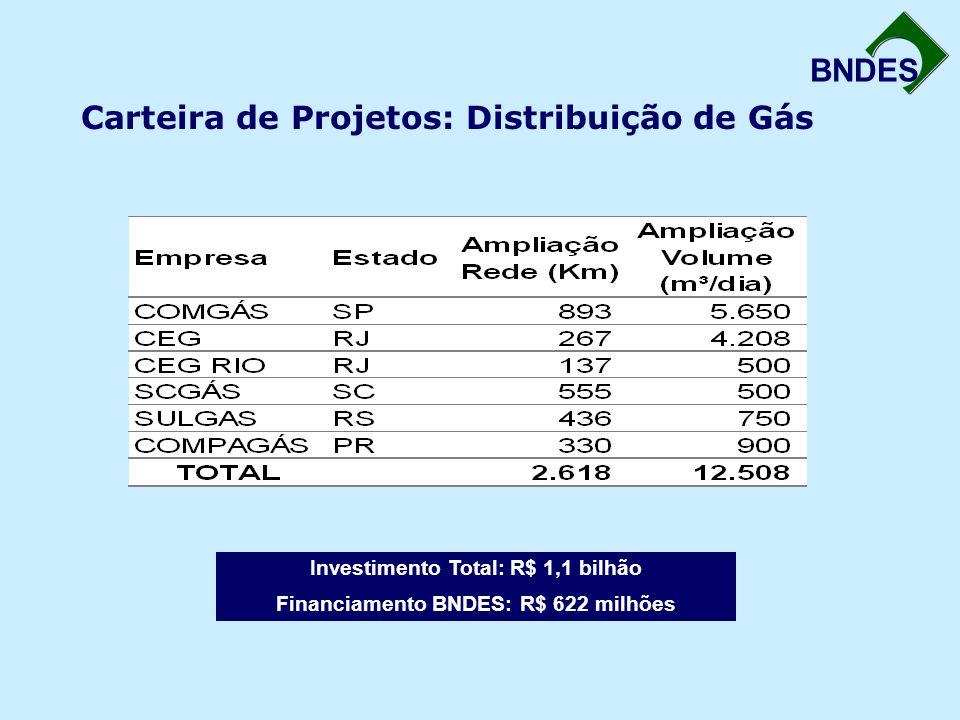 BNDES Carteira de Projetos: Distribuição de Gás Investimento Total: R$ 1,1 bilhão Financiamento BNDES: R$ 622 milhões
