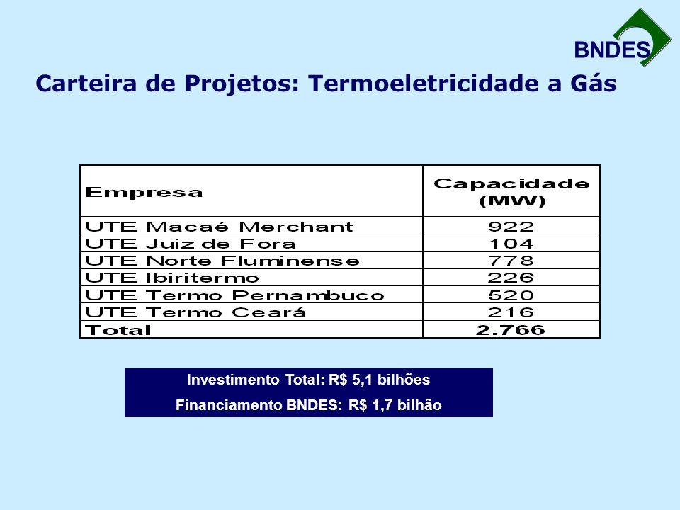 BNDES Carteira de Projetos: Termoeletricidade a Gás Investimento Total: R$ 5,1 bilhões Financiamento BNDES: R$ 1,7 bilhão