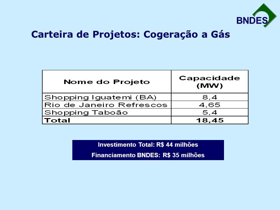 BNDES Carteira de Projetos: Cogeração a Gás Investimento Total: R$ 44 milhões Financiamento BNDES: R$ 35 milhões