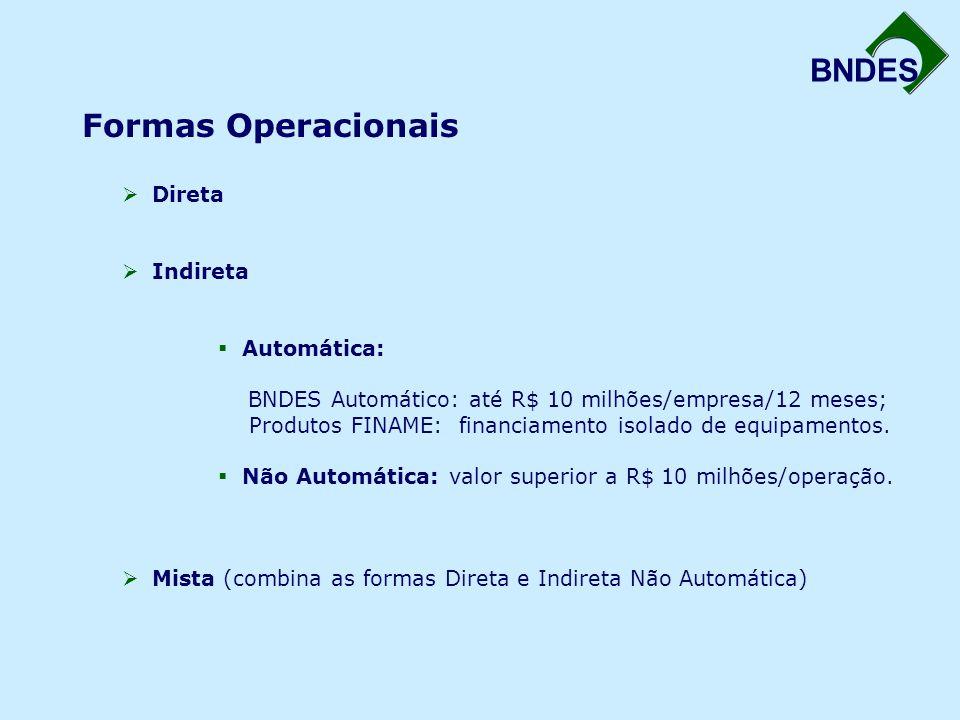 BNDES Formas Operacionais  Direta  Indireta  Automática: BNDES Automático: até R$ 10 milhões/empresa/12 meses; Produtos FINAME: financiamento isolado de equipamentos.