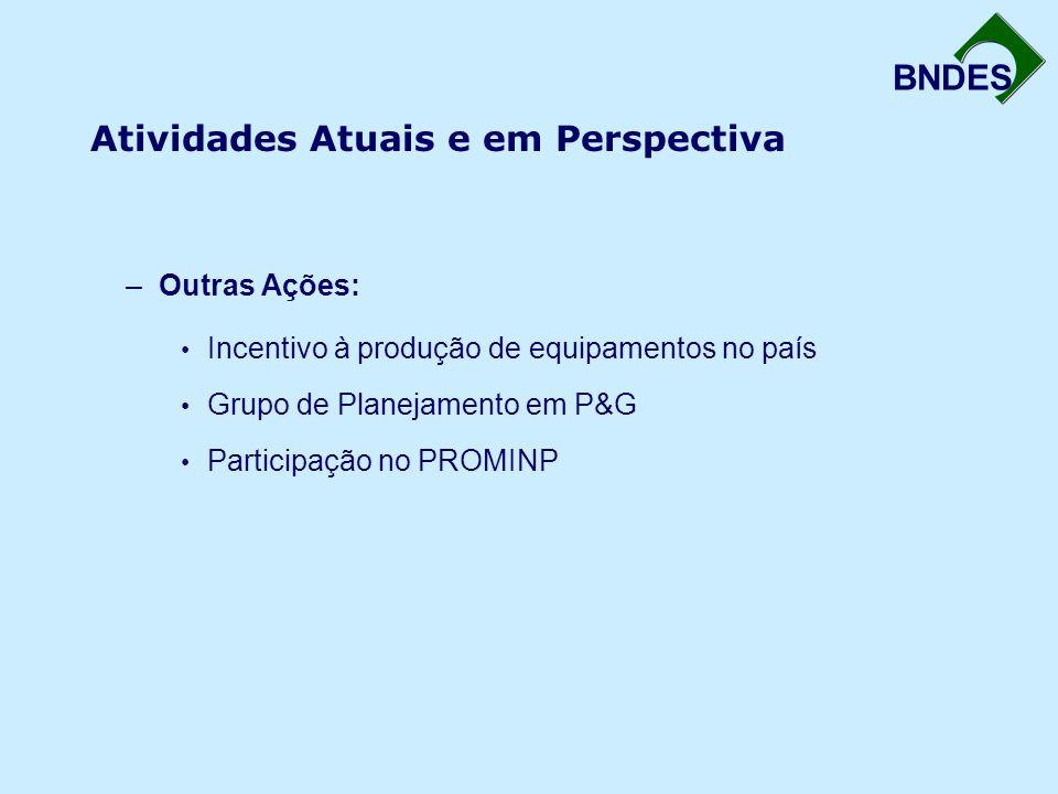 BNDES Atividades Atuais e em Perspectiva –Outras Ações: Incentivo à produção de equipamentos no país Grupo de Planejamento em P&G Participação no PROM