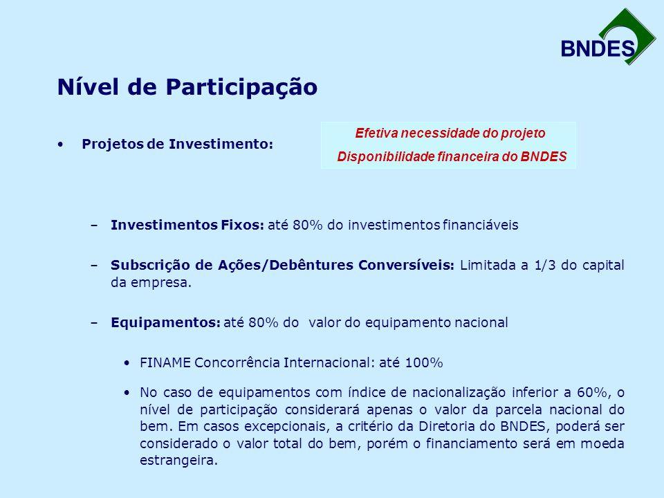 BNDES Nível de Participação Projetos de Investimento: –Investimentos Fixos: até 80% do investimentos financiáveis –Subscrição de Ações/Debêntures Conv