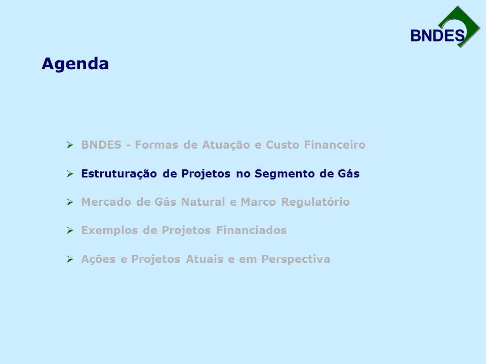 BNDES Participação do BNDES em Projetos de P&G –Financiamentos de longo duração com prazos de pagamento compatíveis Gasodutos: Urucu – Coari – Manaus Urucu – Porto Velho Nordeste/Sudeste (GASENE) Expansão do Projeto Malhas (Nordeste e Sudeste) Investimento Previsto: R$ 6,7 bilhões Financiamento Previsto BNDES: R$ 3,1 bilhões