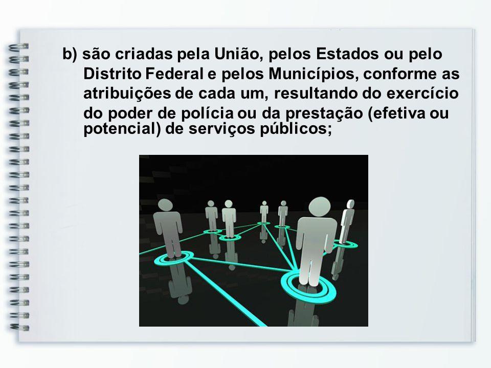 b) são criadas pela União, pelos Estados ou pelo Distrito Federal e pelos Municípios, conforme as atribuições de cada um, resultando do exercício do poder de polícia ou da prestação (efetiva ou potencial) de serviços públicos;