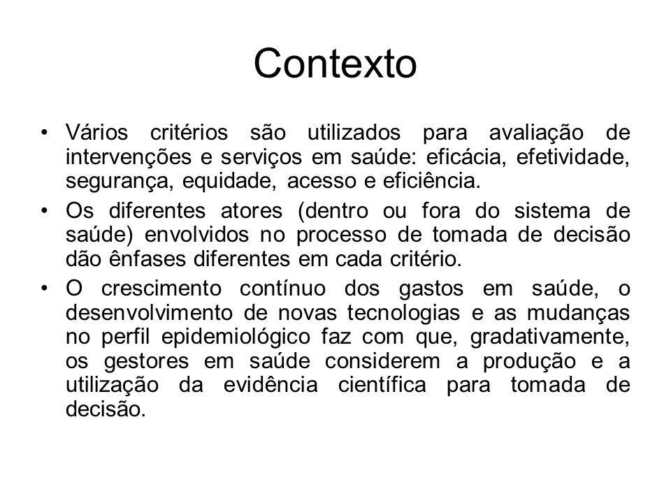 Contexto Vários critérios são utilizados para avaliação de intervenções e serviços em saúde: eficácia, efetividade, segurança, equidade, acesso e eficiência.