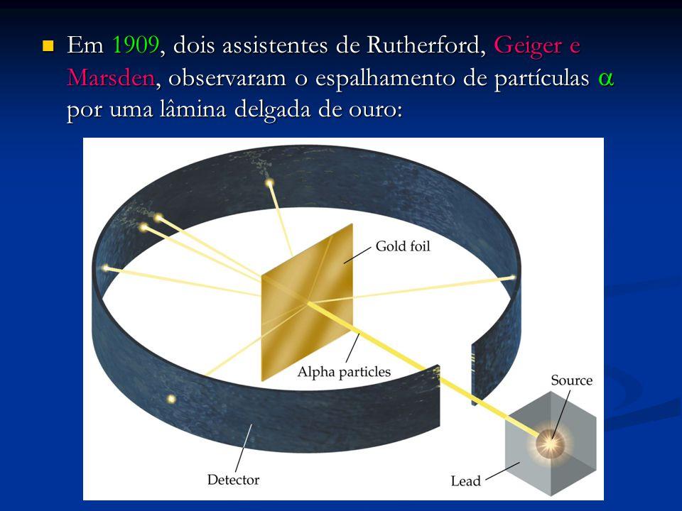 Em 1909, dois assistentes de Rutherford, Geiger e Marsden, observaram o espalhamento de partículas  por uma lâmina delgada de ouro: Em 1909, dois assistentes de Rutherford, Geiger e Marsden, observaram o espalhamento de partículas  por uma lâmina delgada de ouro: