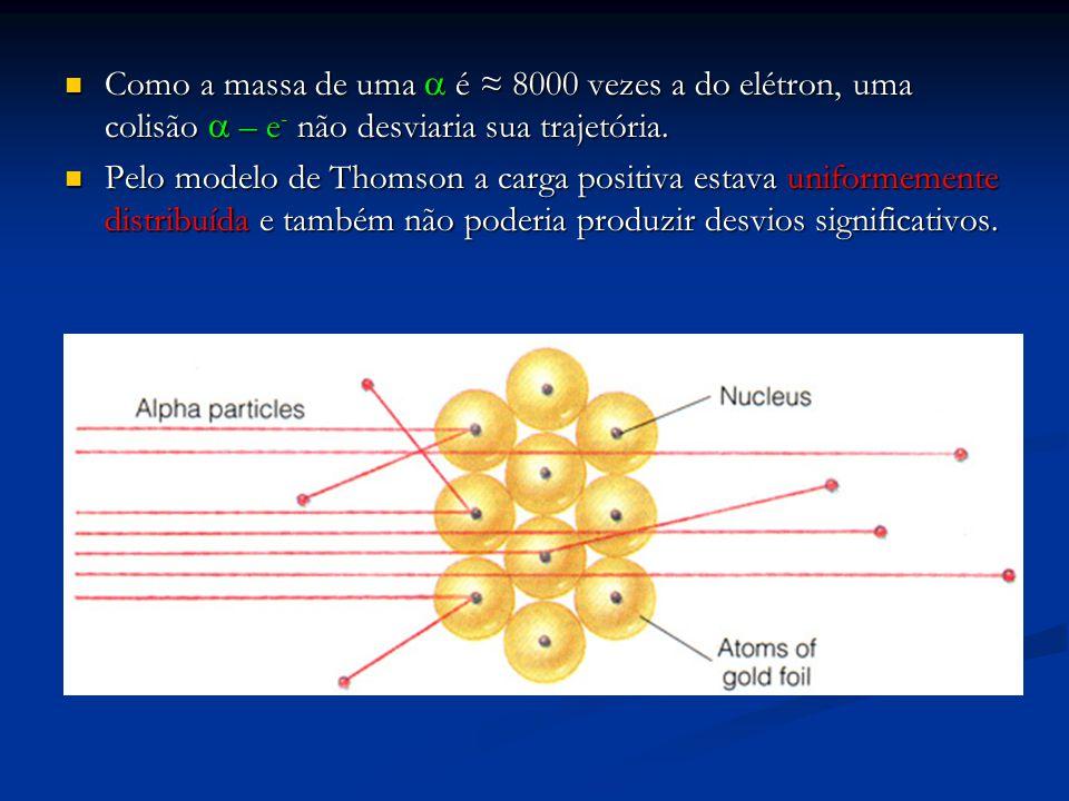Como a massa de uma  é ≈ 8000 vezes a do elétron, uma colisão  – e - não desviaria sua trajetória.