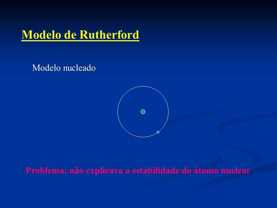 Modelo de Rutherford Modelo nucleado Problema: não explicava a estabilidade do átomo nuclear