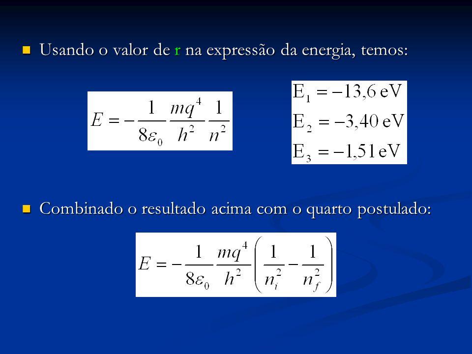 Usando o valor de r na expressão da energia, temos: Usando o valor de r na expressão da energia, temos: Combinado o resultado acima com o quarto postulado: Combinado o resultado acima com o quarto postulado: