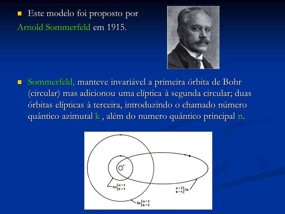 Este modelo foi proposto por Este modelo foi proposto por Arnold Sommerfeld em 1915.