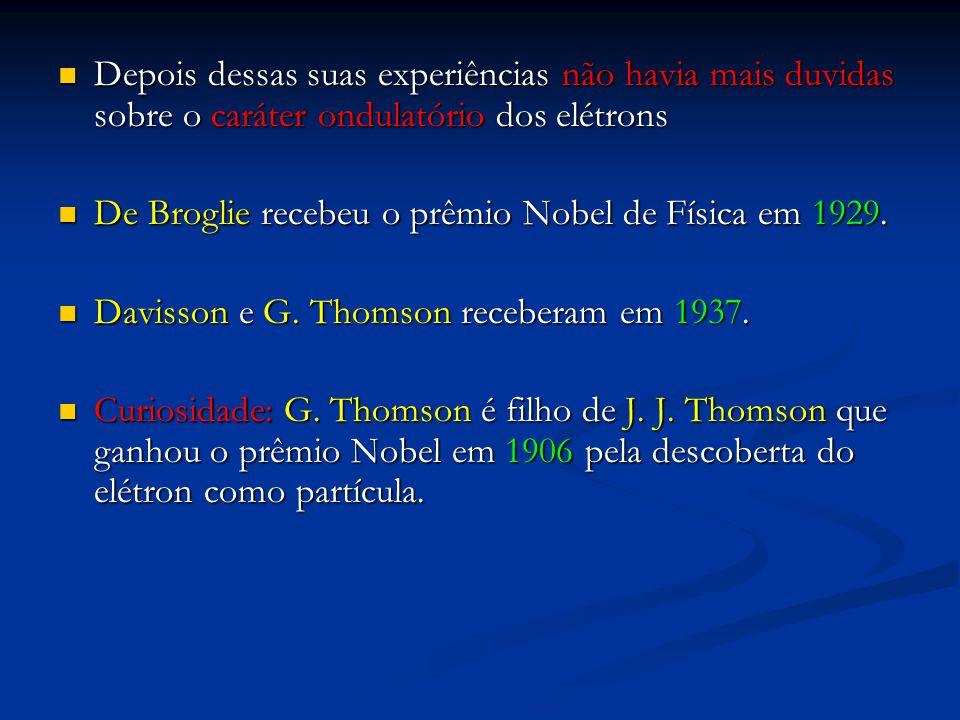 Depois dessas suas experiências não havia mais duvidas sobre o caráter ondulatório dos elétrons Depois dessas suas experiências não havia mais duvidas sobre o caráter ondulatório dos elétrons De Broglie recebeu o prêmio Nobel de Física em 1929.
