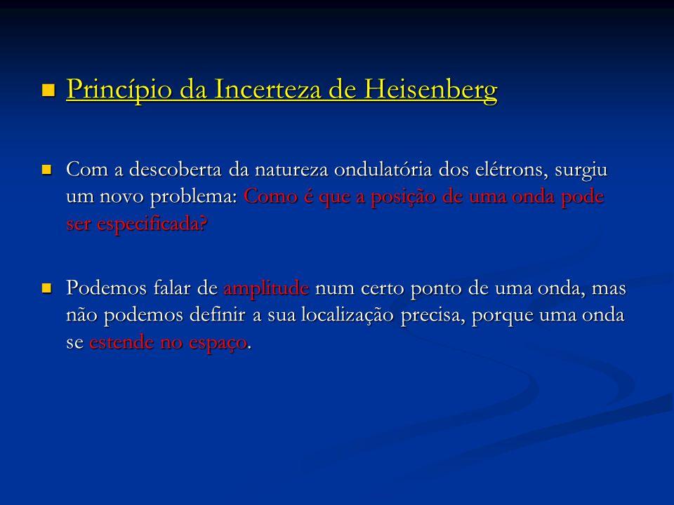 Princípio da Incerteza de Heisenberg Princípio da Incerteza de Heisenberg Com a descoberta da natureza ondulatória dos elétrons, surgiu um novo problema: Como é que a posição de uma onda pode ser especificada.