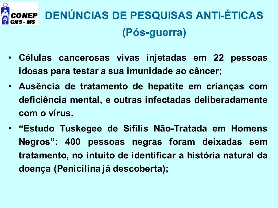 DENÚNCIAS DE PESQUISAS ANTI-ÉTICAS (Pós-guerra) Células cancerosas vivas injetadas em 22 pessoas idosas para testar a sua imunidade ao câncer; Ausênci