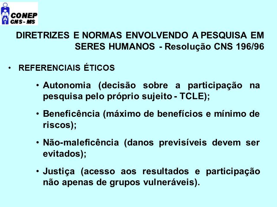 DIRETRIZES E NORMAS ENVOLVENDO A PESQUISA EM SERES HUMANOS - Resolução CNS 196/96 REFERENCIAIS ÉTICOS Autonomia (decisão sobre a participação na pesquisa pelo próprio sujeito - TCLE); Beneficência (máximo de benefícios e mínimo de riscos); Não-maleficência (danos previsíveis devem ser evitados); Justiça (acesso aos resultados e participação não apenas de grupos vulneráveis).