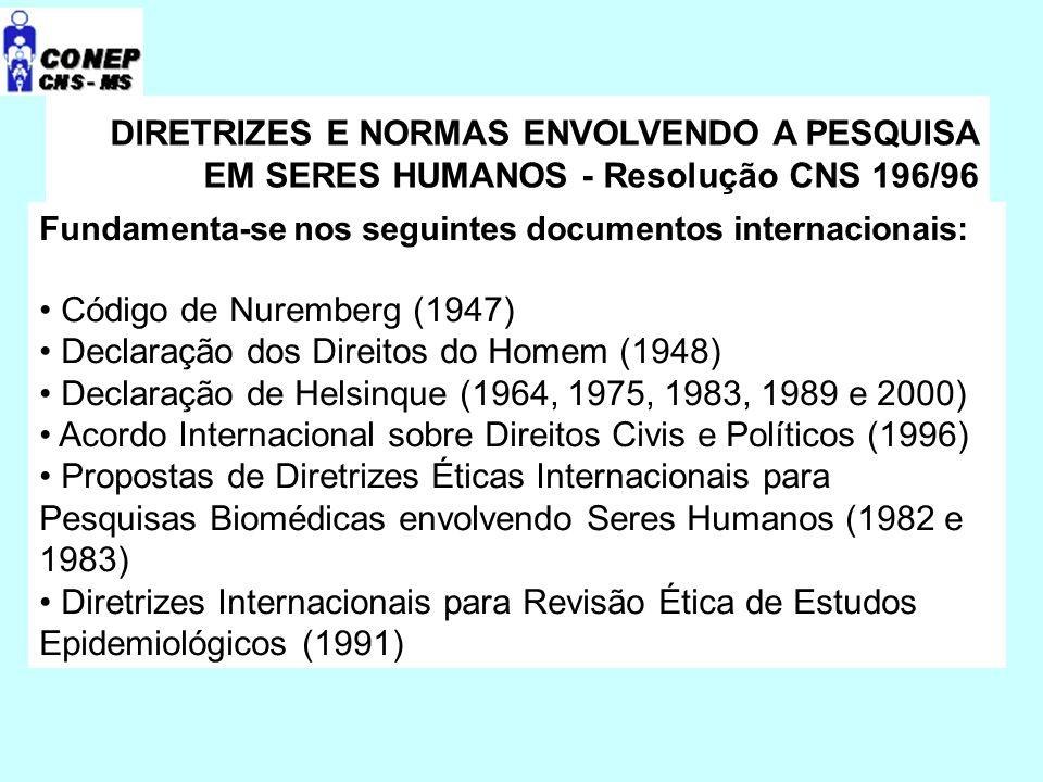 DIRETRIZES E NORMAS ENVOLVENDO A PESQUISA EM SERES HUMANOS - Resolução CNS 196/96 Fundamenta-se nos seguintes documentos internacionais: Código de Nuremberg (1947) Declaração dos Direitos do Homem (1948) Declaração de Helsinque (1964, 1975, 1983, 1989 e 2000) Acordo Internacional sobre Direitos Civis e Políticos (1996) Propostas de Diretrizes Éticas Internacionais para Pesquisas Biomédicas envolvendo Seres Humanos (1982 e 1983) Diretrizes Internacionais para Revisão Ética de Estudos Epidemiológicos (1991)