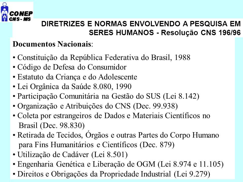 DIRETRIZES E NORMAS ENVOLVENDO A PESQUISA EM SERES HUMANOS - Resolução CNS 196/96 Documentos Nacionais: Constituição da República Federativa do Brasil