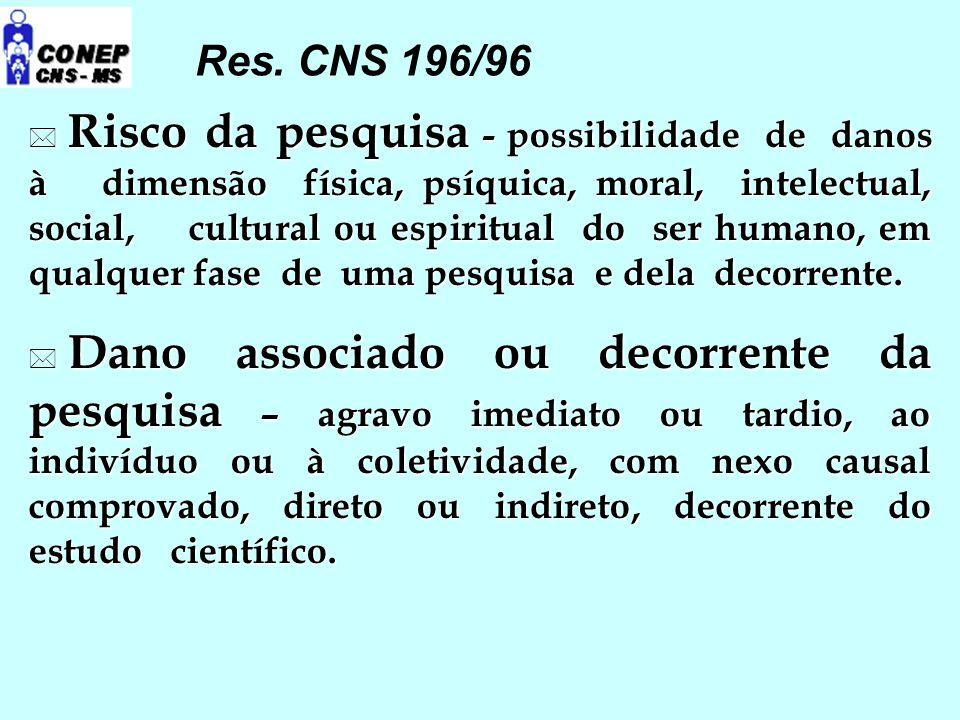  Risco da pesquisa - possibilidade de danos à dimensão física, psíquica, moral, intelectual, social, cultural ou espiritual do ser humano, em qualque