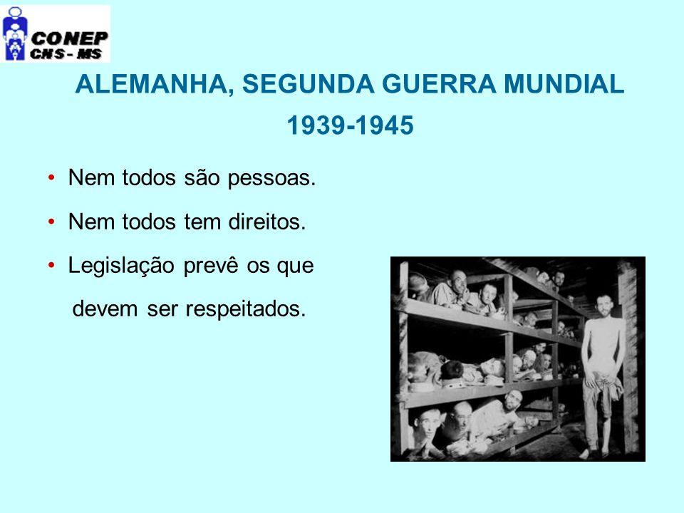 ALEMANHA, SEGUNDA GUERRA MUNDIAL 1939-1945 Nem todos são pessoas. Nem todos tem direitos. Legislação prevê os que devem ser respeitados.