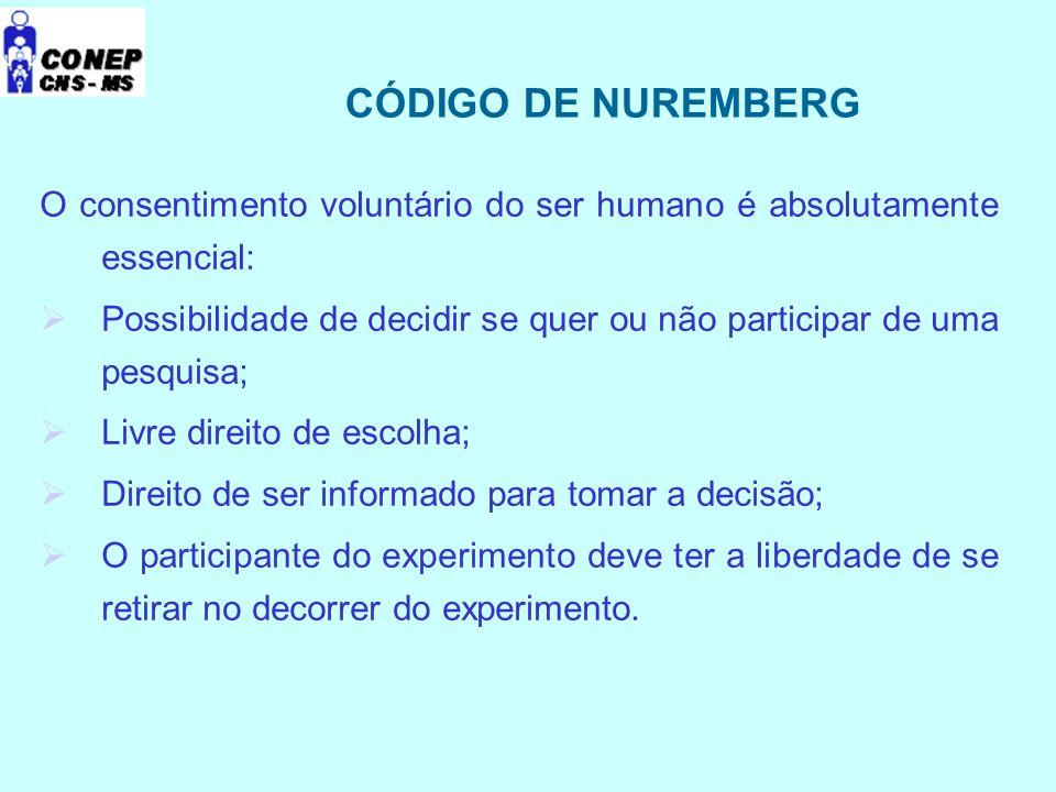 CÓDIGO DE NUREMBERG O consentimento voluntário do ser humano é absolutamente essencial:  Possibilidade de decidir se quer ou não participar de uma pe