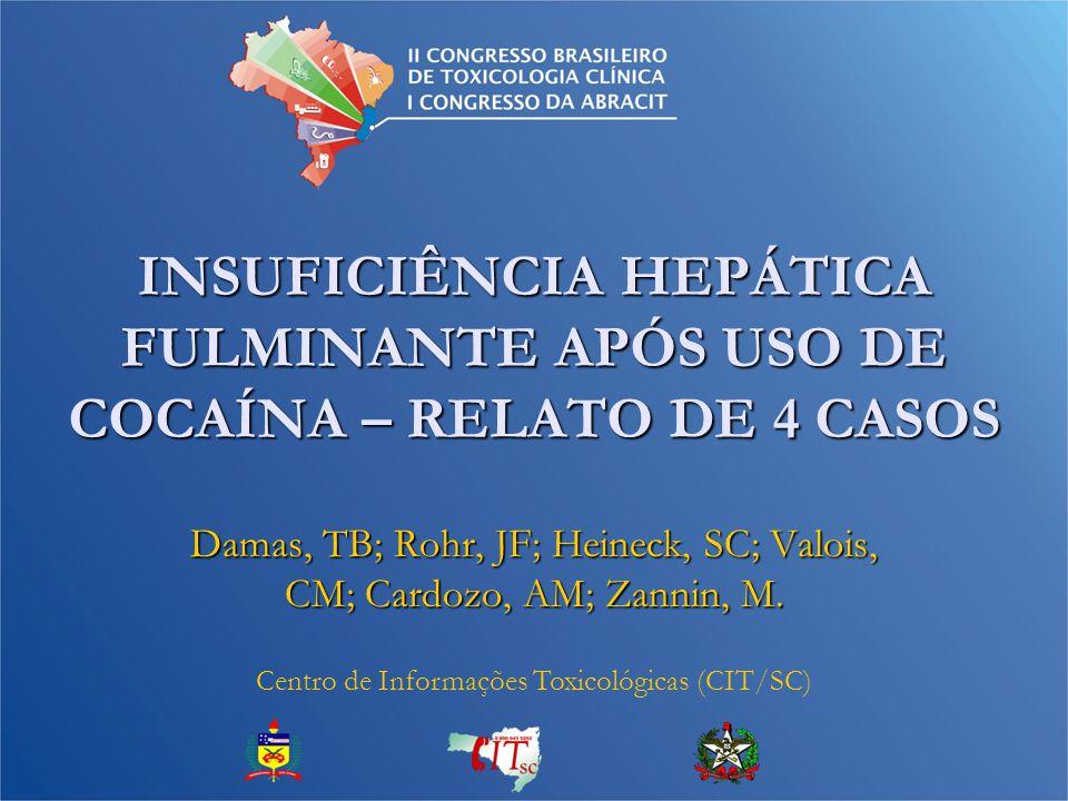 INSUFICIÊNCIA HEPÁTICA FULMINANTE APÓS USO DE COCAÍNA – RELATO DE 4 CASOS Damas, TB; Rohr, JF; Heineck, SC; Valois, CM; Cardozo, AM; Zannin, M.