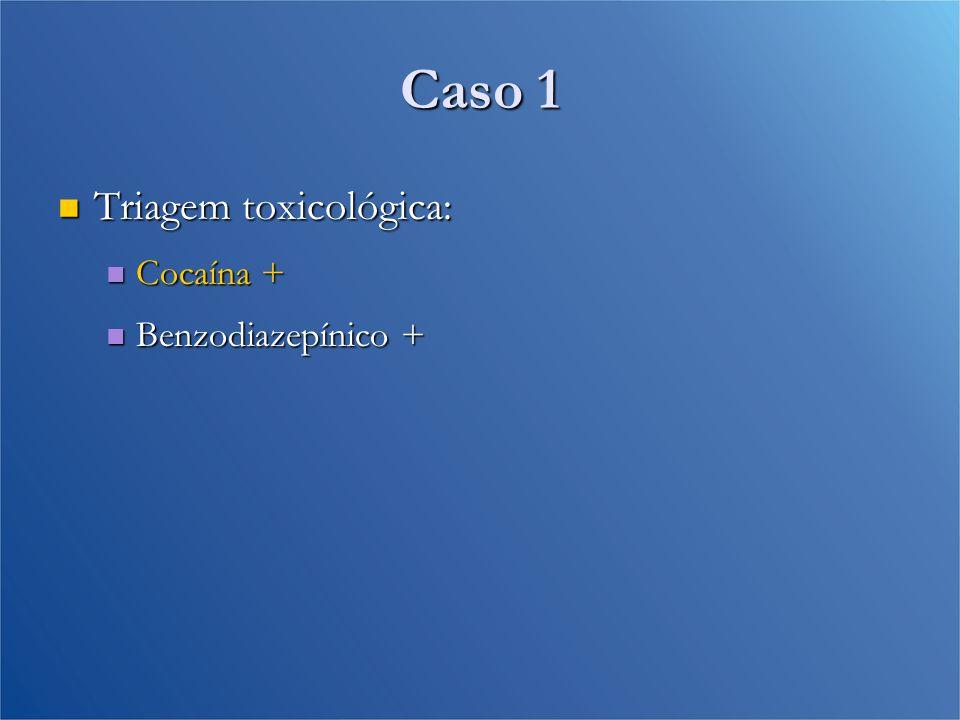 Caso 1 Triagem toxicológica: Triagem toxicológica: Cocaína + Cocaína + Benzodiazepínico + Benzodiazepínico +