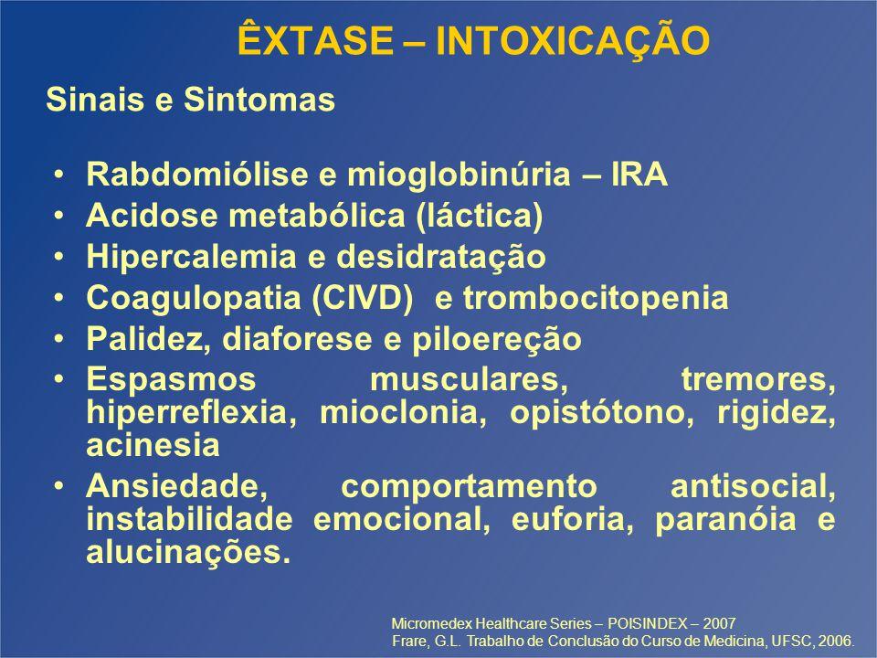 ÊXTASE – INTOXICAÇÃO Rabdomiólise e mioglobinúria – IRA Acidose metabólica (láctica) Hipercalemia e desidratação Coagulopatia (CIVD) e trombocitopenia Palidez, diaforese e piloereção Espasmos musculares, tremores, hiperreflexia, mioclonia, opistótono, rigidez, acinesia Ansiedade, comportamento antisocial, instabilidade emocional, euforia, paranóia e alucinações.