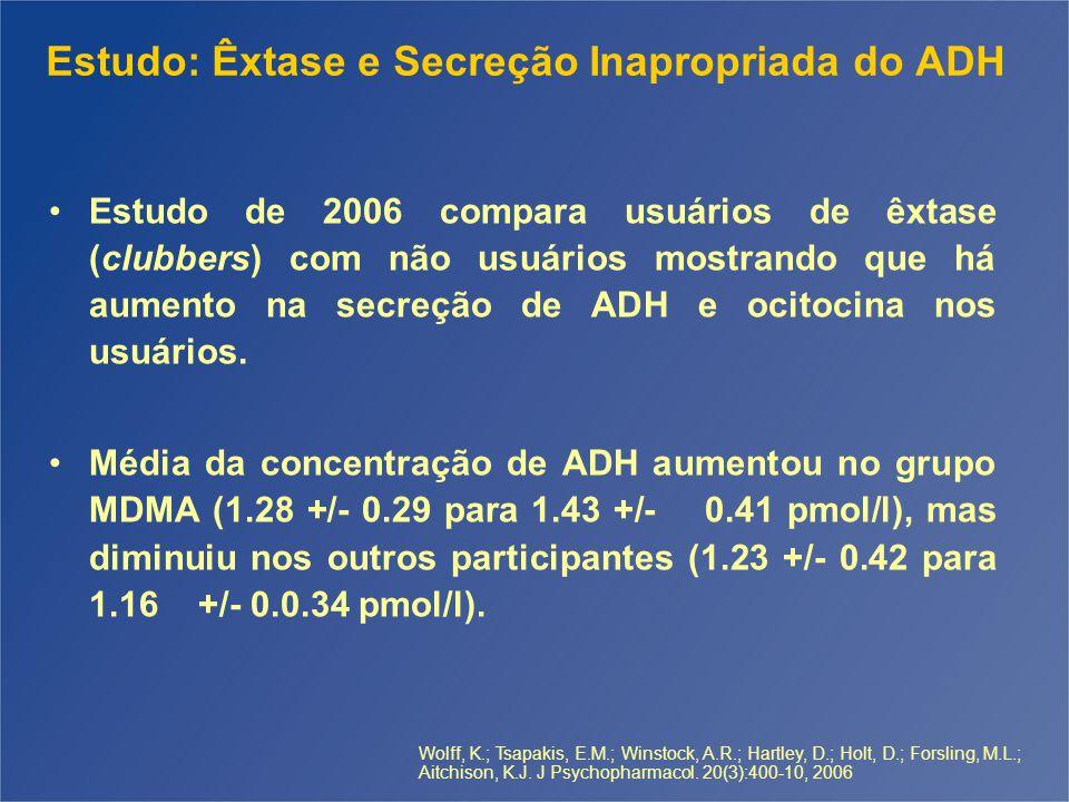 Estudo: Êxtase e Secreção Inapropriada do ADH Estudo de 2006 compara usuários de êxtase (clubbers) com não usuários mostrando que há aumento na secreção de ADH e ocitocina nos usuários.