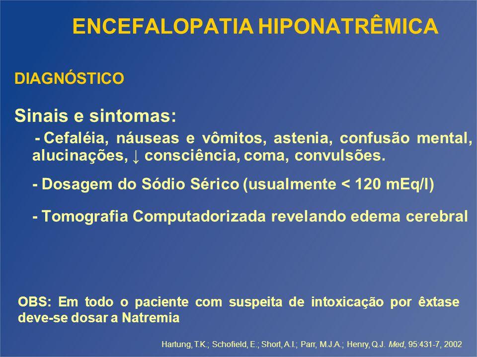 ENCEFALOPATIA HIPONATRÊMICA Sinais e sintomas: - Cefaléia, náuseas e vômitos, astenia, confusão mental, alucinações, ↓ consciência, coma, convulsões.