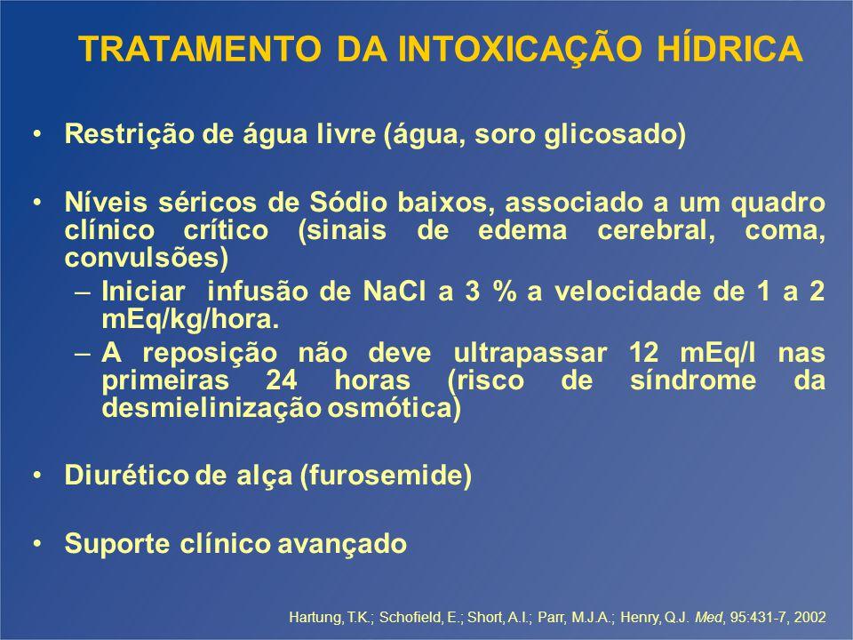 TRATAMENTO DA INTOXICAÇÃO HÍDRICA Restrição de água livre (água, soro glicosado) Níveis séricos de Sódio baixos, associado a um quadro clínico crítico