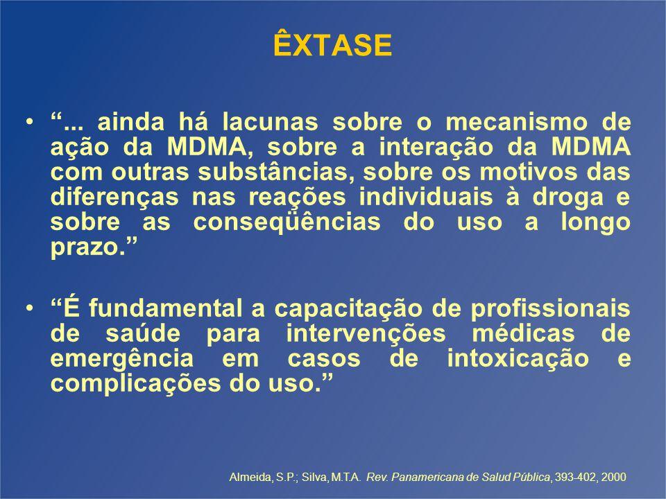 """ÊXTASE """"... ainda há lacunas sobre o mecanismo de ação da MDMA, sobre a interação da MDMA com outras substâncias, sobre os motivos das diferenças nas"""