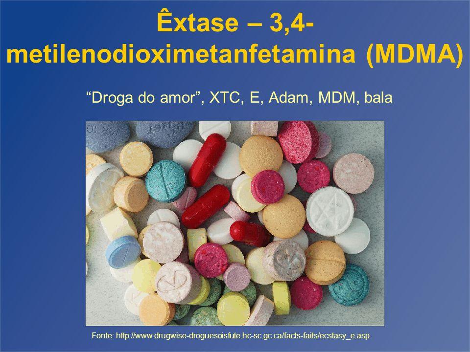 Êxtase – 3,4- metilenodioximetanfetamina (MDMA) Droga do amor , XTC, E, Adam, MDM, bala Fonte: http://www.drugwise-droguesoisfute.hc-sc.gc.ca/facts-faits/ecstasy_e.asp.