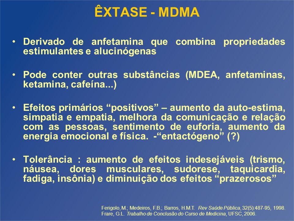 ÊXTASE - MDMA Derivado de anfetamina que combina propriedades estimulantes e alucinógenas Pode conter outras substâncias (MDEA, anfetaminas, ketamina,