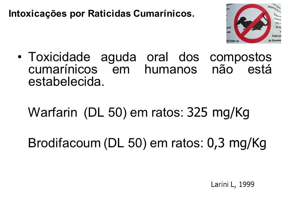 Toxicidade aguda oral dos compostos cumarínicos em humanos não está estabelecida. Warfarin (DL 50) em ratos: 325 mg/Kg Brodifacoum (DL 50) em ratos: 0